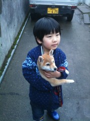 Photo 4. My puppy Cookie and my younger brother